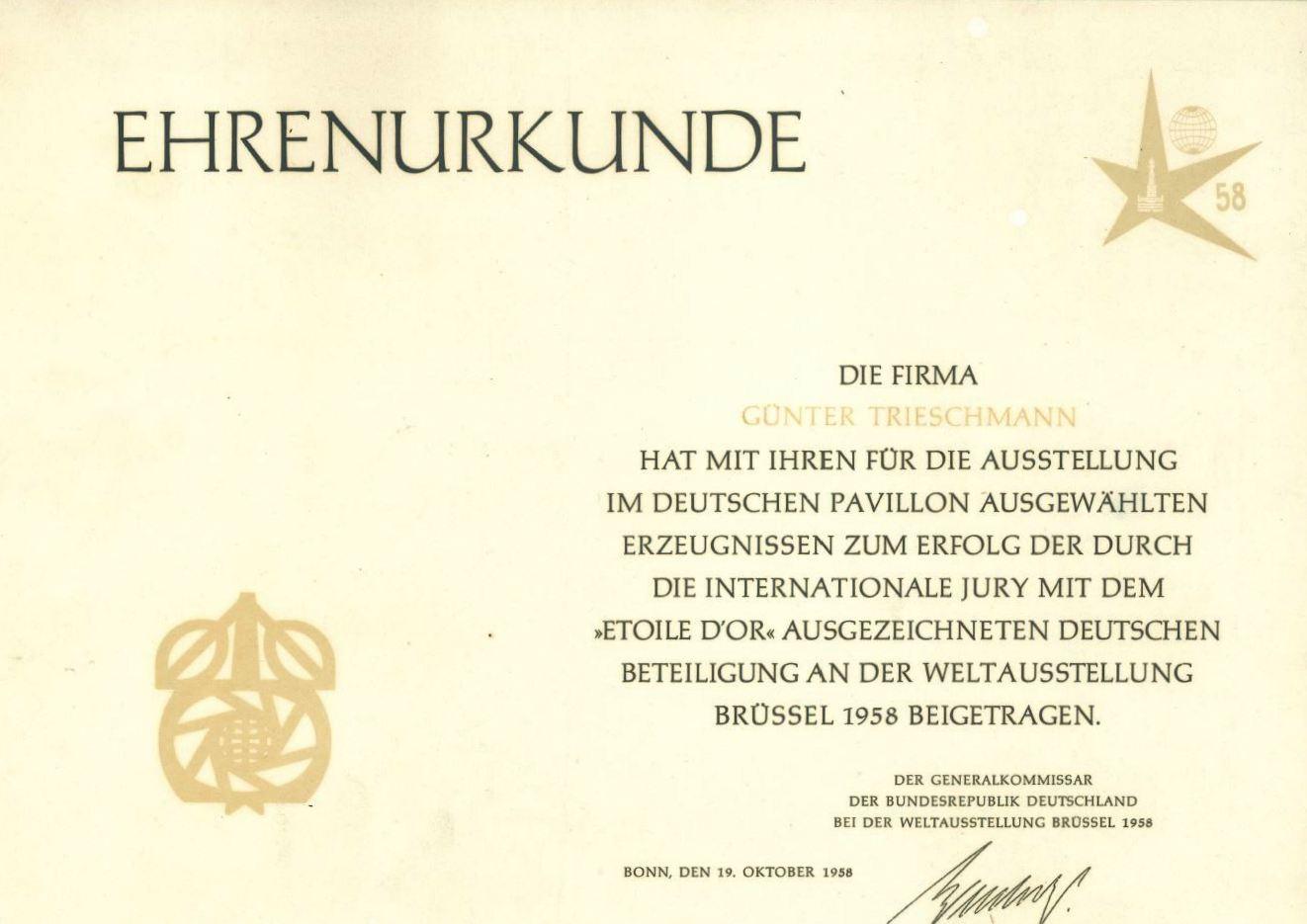 Firmengeschichte Ehrenurkunde Weltausstellung Firmengeschichte