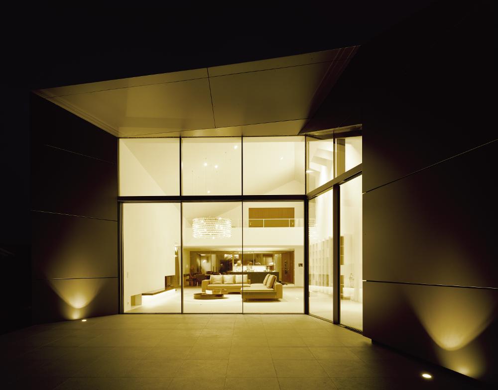 Haus in Moos Außenansicht bei Nacht