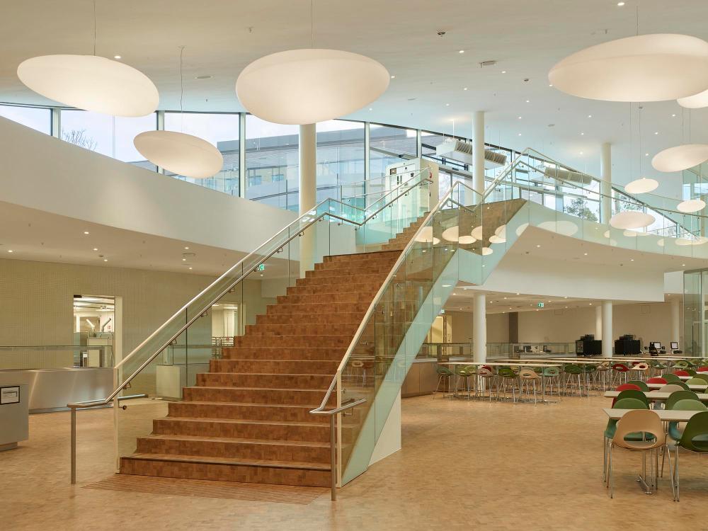 Innenansicht auf Treppe Mensa Bildungscampus Heilbronn mit Sonderleuchten freie Form